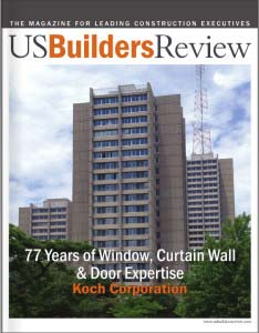The cover of US Builders Review magazine featuring Koch Corporation's 77 years of expertise.